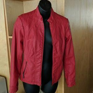 Began leather red Moto jacket